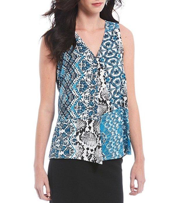 カルバンクライン レディース シャツ トップス Geo Patchwork Snake Skin Print V-Neck Sleeveless Top Steel Blue Multi