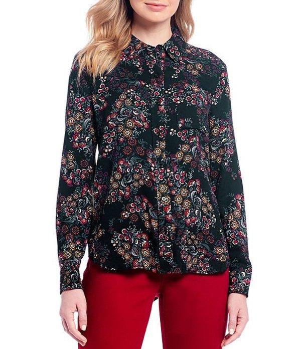 ウエストバウンド レディース シャツ トップス Paisley Print One-Pocket Long Sleeve Button Front Shirt Deco Paisley
