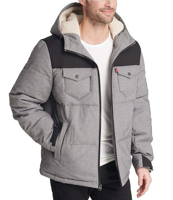 リーバイス メンズ ジャケット・ブルゾン アウター Levi'sR Arctic Quilted Puffer With Sherpa Lined Hood Jacket Black Heather Grey