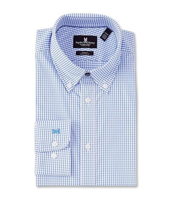 サイコバニー メンズ シャツ トップス Non-Iron Slim Fit Button Down Collar Checked Dress Shirt White/Light Blue