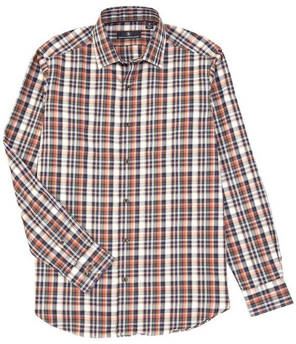 ハート シャフナー マルクス メンズ シャツ トップス Long Sleeve Large Plaid Sportshirt Brown
