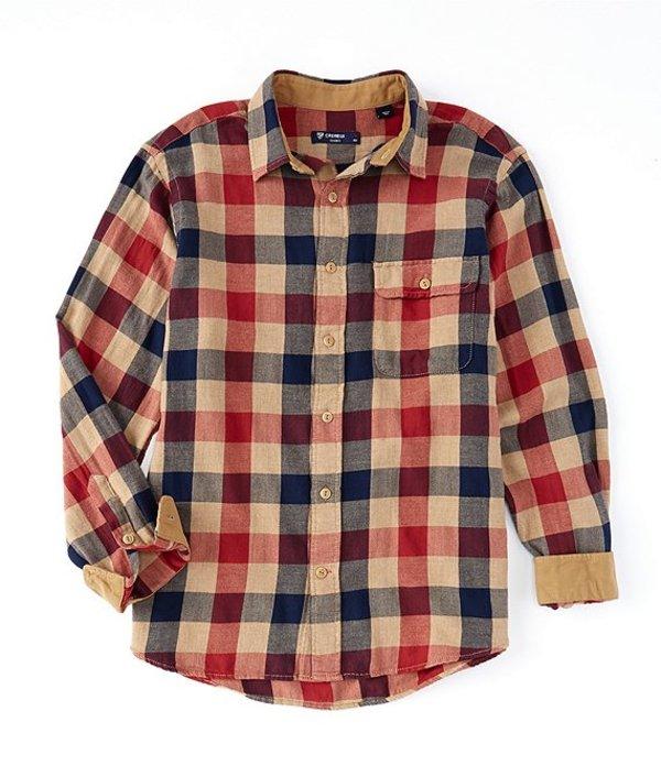 ダニエル クレミュ メンズ シャツ トップス Check Vintage Twill Brown Long-Sleeve Woven Shirt Brown