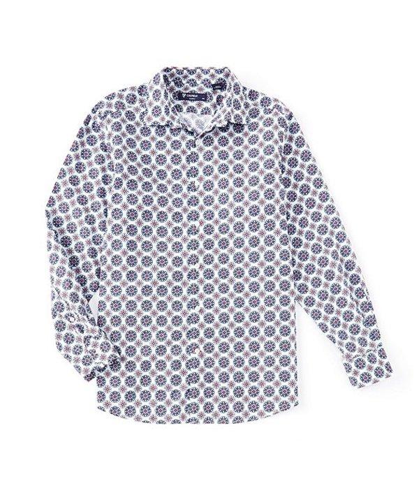 ダニエル クレミュ メンズ シャツ トップス Poplin Circle Print White Long-Sleeve Woven Shirt White