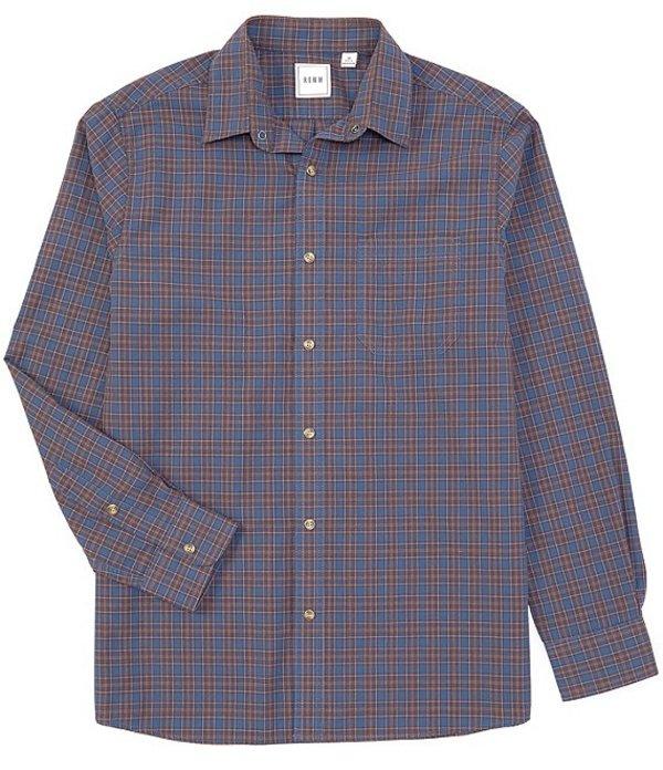 ラウン メンズ シャツ トップス Big & Tall Long-Sleeve Basketweave Plaid Sportshirt Medium Blue