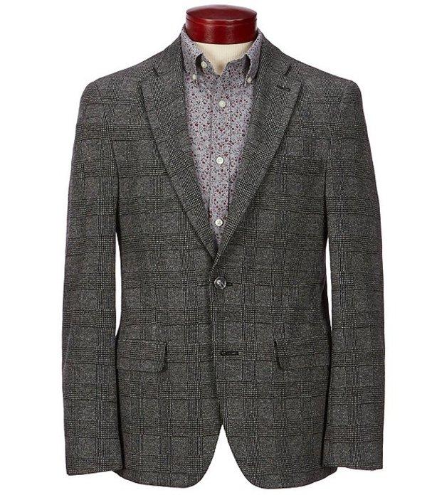 ハワード メンズ ジャケット・ブルゾン アウター Glen Plaid Suit Separates Knit Blazer Charcoal