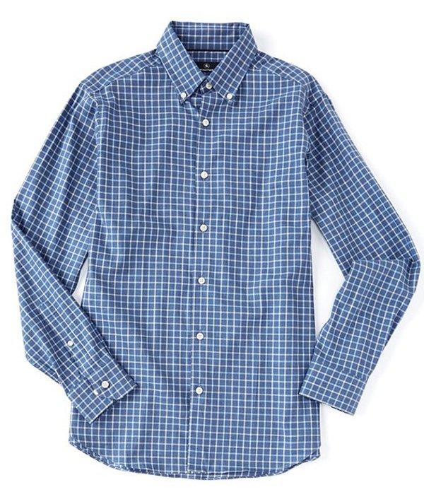 ハート シャフナー マルクス メンズ シャツ トップス Long Sleeve Flannel Twill Windowpane Sportshirt Blue