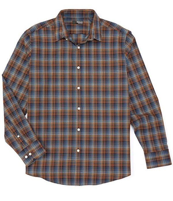 ムラノ メンズ シャツ トップス Liquid Luxury Plaid Jacquard Long-Sleeve Woven Shirt Brown