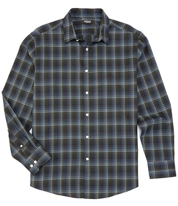 ムラノ メンズ シャツ トップス Liquid Luxury Plaid Jacquard Long-Sleeve Woven Shirt Green
