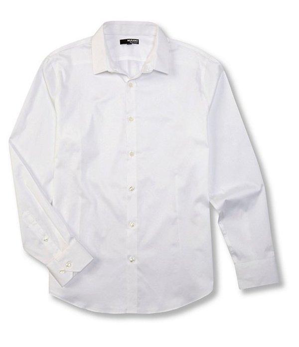 ムラノ メンズ シャツ トップス Liquid Luxury Slim-Fit Mini Point Sateen Long-Sleeve Woven Shirt Whiteness