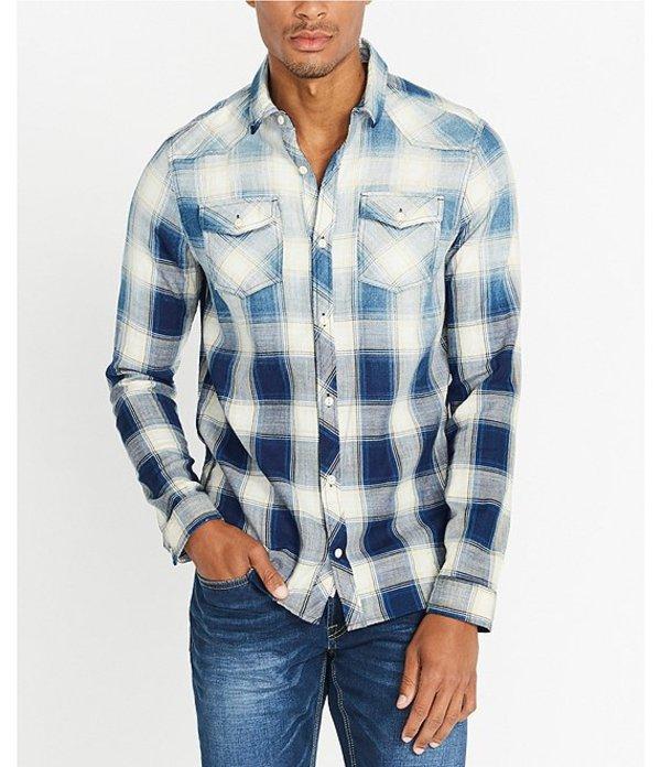 バッファロー・デイビッド・ビトン メンズ シャツ トップス Sakool Ombre Bleached Plaid Shirt Royal