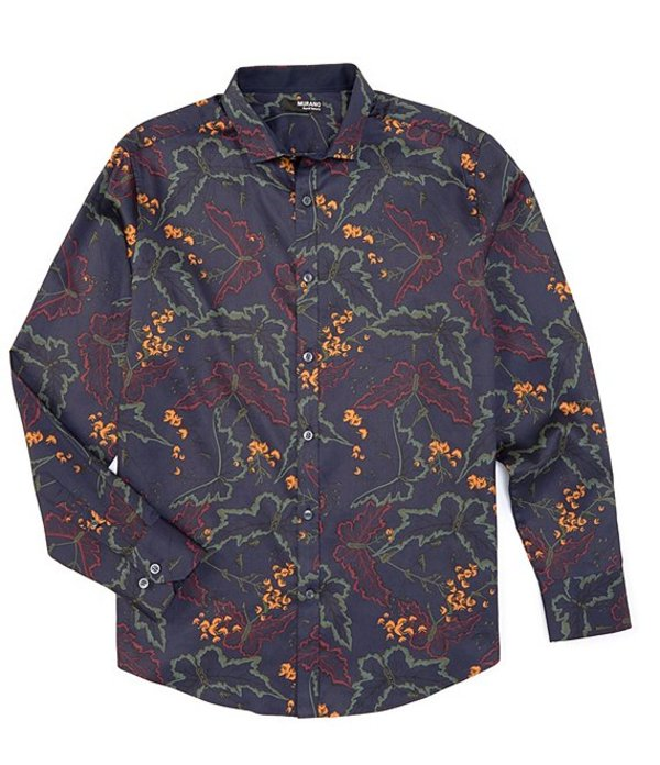 ムラノ メンズ シャツ トップス Big & Tall Liquid Luxury Long-Sleeve Woven Shirt Dark Navy