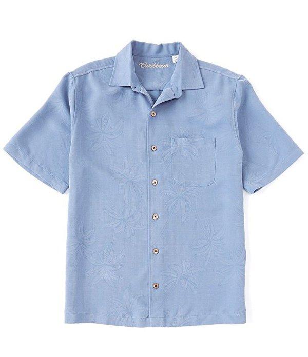 カリビアン メンズ シャツ トップス Big & Tall Textured Solid Short-Sleeve Woven Shirt French Blue