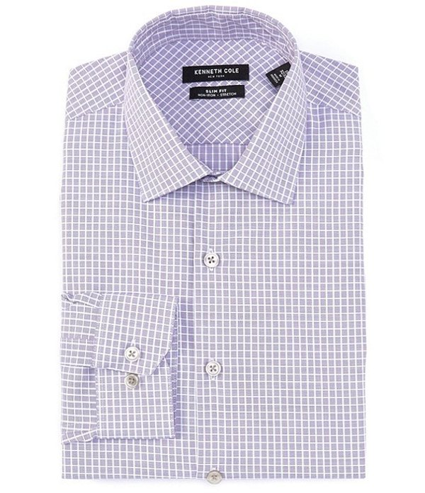 ケネスコール メンズ シャツ トップス Non-Iron Slim Fit Spread Collar Textured Grid Dress Shirt Blue Violet