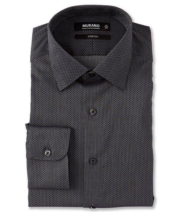 ムラノ メンズ シャツ トップス Slim Fit Spread Collar Solid Dobby Dress Shirt Black/Grey