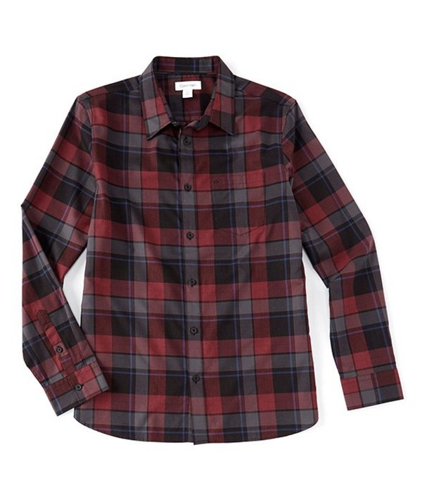 カルバンクライン メンズ シャツ トップス Slim-Fit Plaid Melange Flannel Long-Sleeve Woven Shirt Wine Tasting