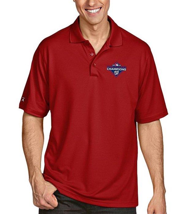 アンティグア メンズ シャツ トップス MLB World Series Champions Washington Nationals Pique Xtra-Lite Short-Sleeve Polo Shirt Washington Nationals Dark Red