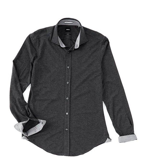 ヒューゴボス メンズ シャツ トップス BOSS Slim-Fit Ridley Solid Long-Sleeve Knit Woven Shirt Open Grey