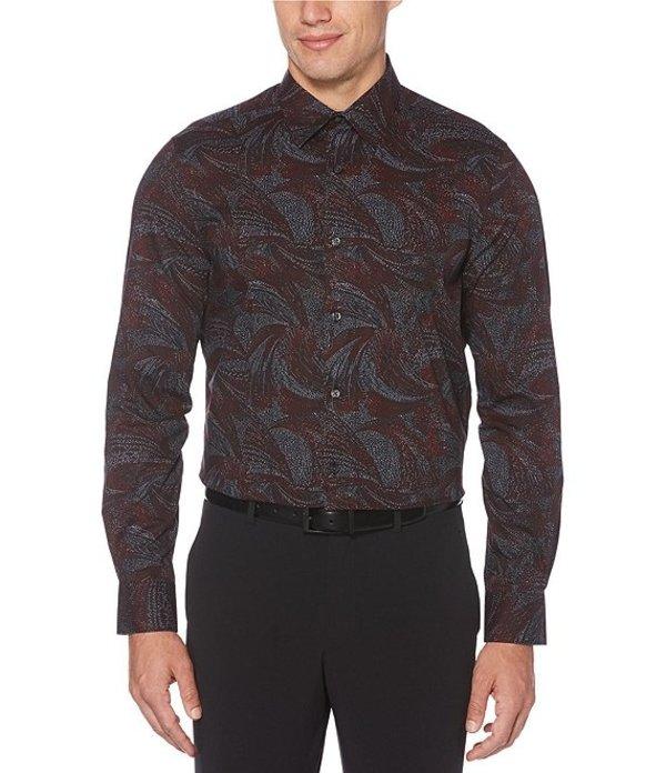 ペリーエリス メンズ シャツ トップス Big & Tall Large Swirl Print Stretch Long-Sleeve Woven Shirt Black