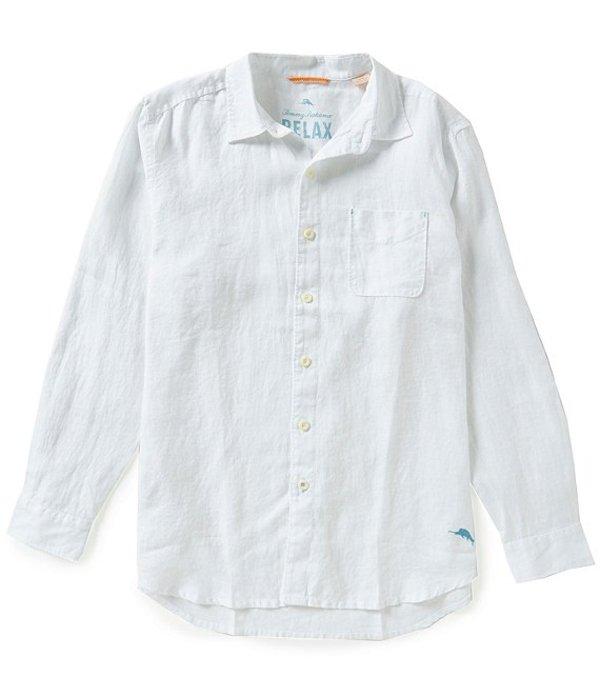 トッミーバハマ メンズ シャツ トップス Sea Glass Breezer Long-Sleeve Solid Woven Linen Shirt White