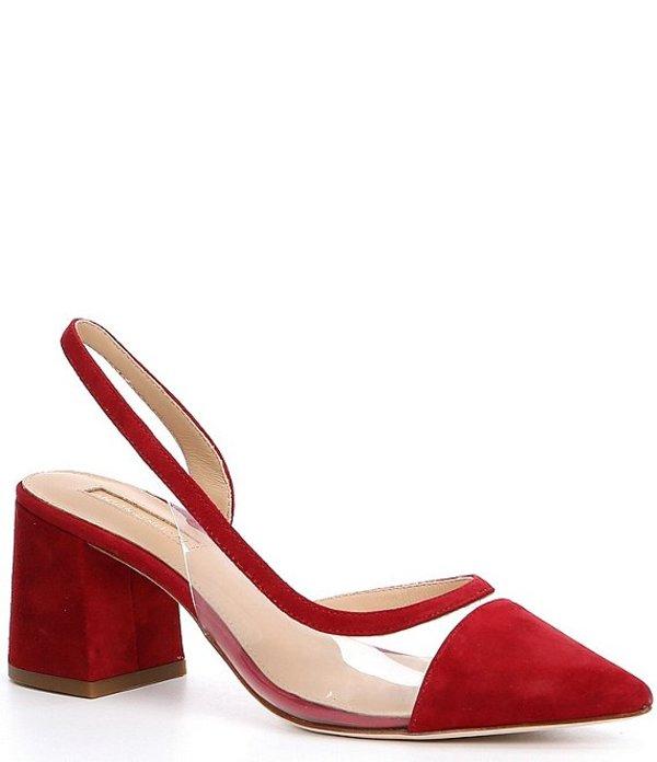 アントニオ メラーニ レディース ヒール シューズ Braylene Vinyl Slingback Block Heel Pumps Red Rouge/Clear
