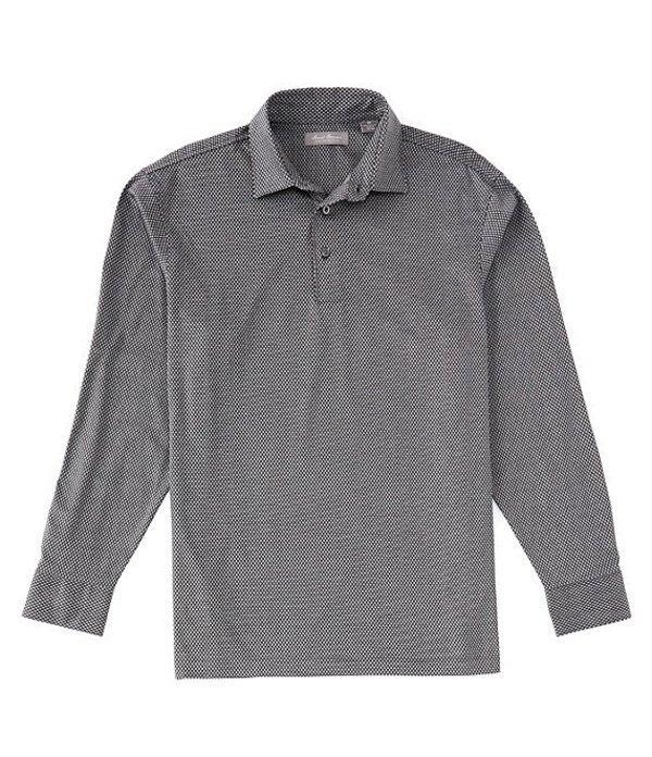 ダニエル クレミュ メンズ シャツ トップス Daniel Cremieux Signature Geo Jaquard Long-Sleeve Polo Shirt Black