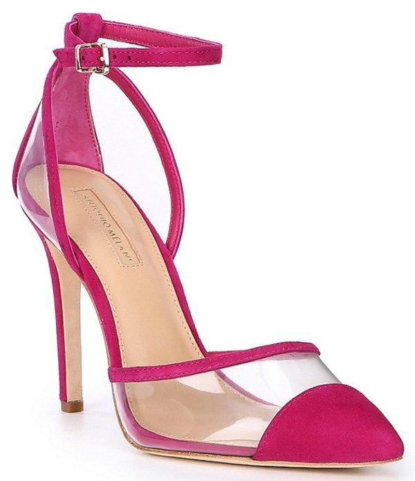 アントニオ メラーニ レディース ヒール シューズ Cattorie Suede and Clear Stiletto Pumps Poppy Pink/Clear