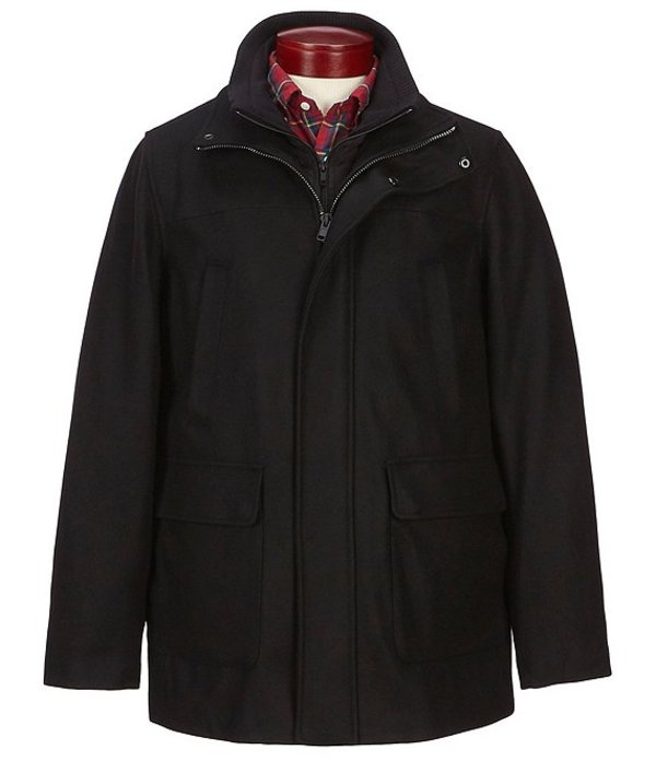 ラウンドトゥリーアンドヨーク メンズ ジャケット・ブルゾン アウター Long Wool Car Coat Black