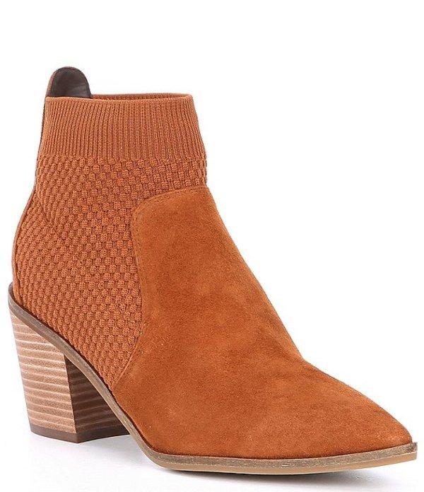 コールハーン レディース ブーツ・レインブーツ シューズ Maggie Suede & Stretch Knit Block Heel Pointed Toe Booties British Tan