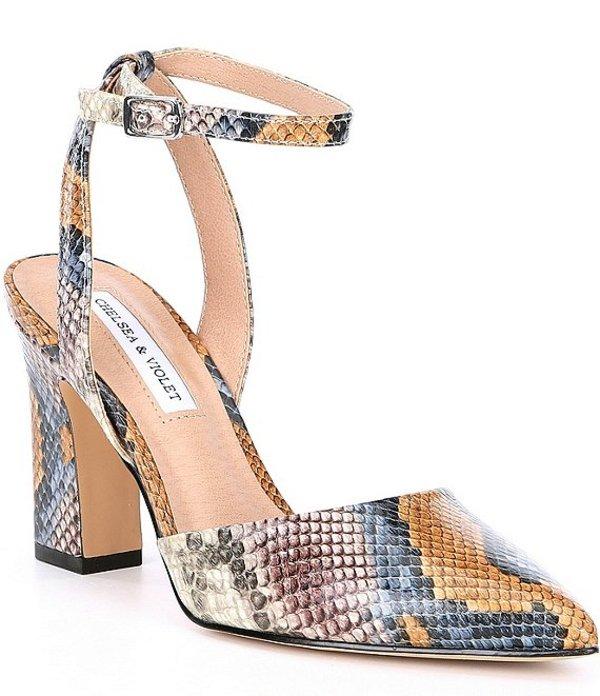 チェルシーアンドバイオレット レディース ヒール シューズ Mary Snake Print Leather Pointed Toe Block Heel Pumps Multi Snake