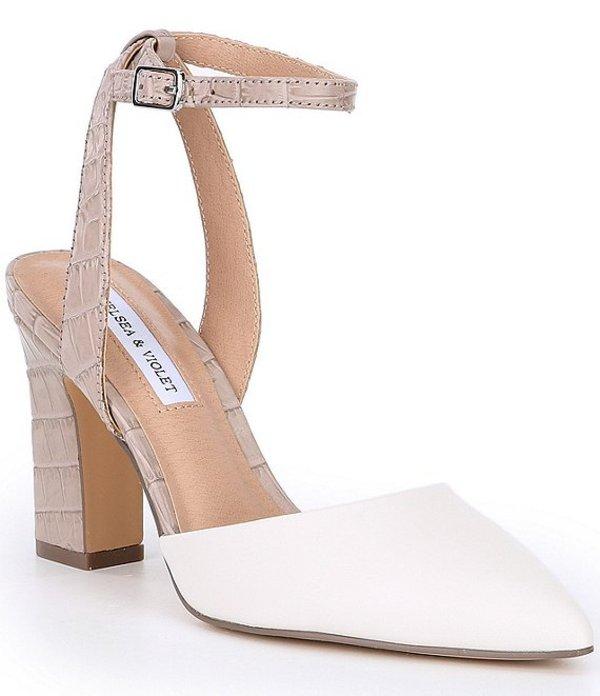 チェルシーアンドバイオレット レディース ヒール シューズ Mary Leather Pointed Toe Croco Embossed Block Heel Pumps White/Multi