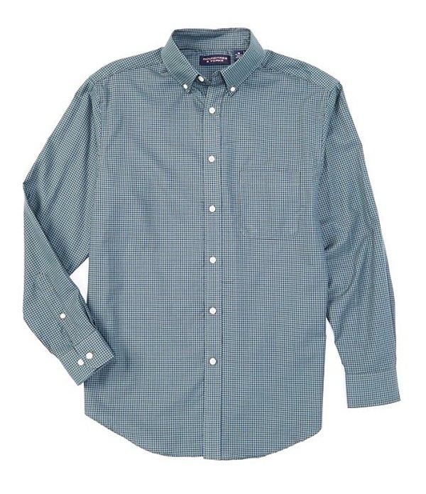 ラウンドトゥリーアンドヨーク メンズ シャツ トップス Big & Tall Luxury Cotton Long-Sleeve Checked Sportshirt Green