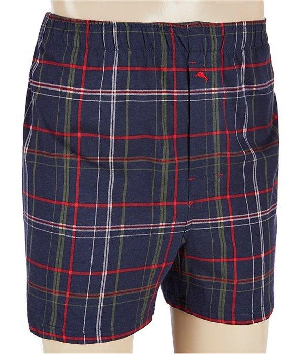 トッミーバハマ メンズ ボクサーパンツ アンダーウェア Holiday Plaid Cotton Modal Knit Boxers Navy Plaid