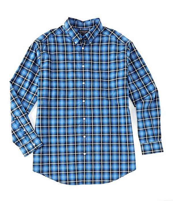 ラウンドトゥリーアンドヨーク メンズ シャツ トップス Big & Tall Long-Sleeve Tartan Sportshirt Bright Blue