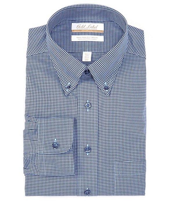 ラウンドトゥリーアンドヨーク メンズ シャツ トップス Gold Label Roundtree & Yorke Non-Iron Full Fit Button-Down Collar Mini Houndstooth Dress Shirt Navy/Blue