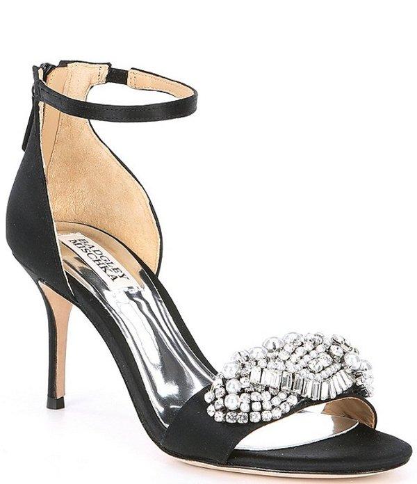 バッジェリーミシュカ レディース サンダル シューズ Odalis Jewel Embellished Satin Dress Sandals Black Satin