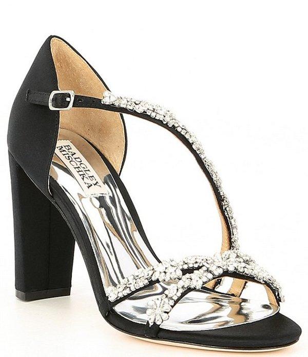 バッジェリーミシュカ レディース サンダル シューズ Omega Satin Jewel Embellished Block Heel Dress Sandals Black Satin