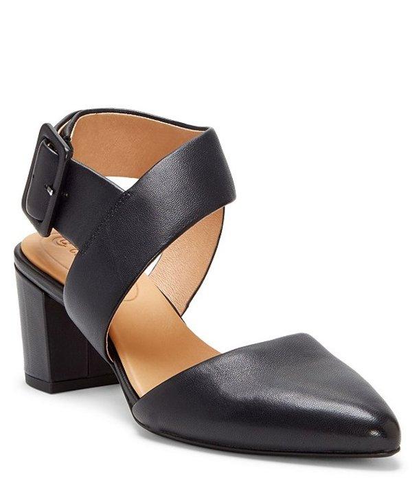 コルソ コモ レディース ヒール シューズ Riina Leather Asymmetrical Block Heel Pointed Toe Pumps Black