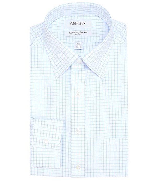 ダニエル クレミュ メンズ シャツ トップス Non-Iron Classic Fit Spread Collar White & Blue Grid Dress Shirt White/Blue