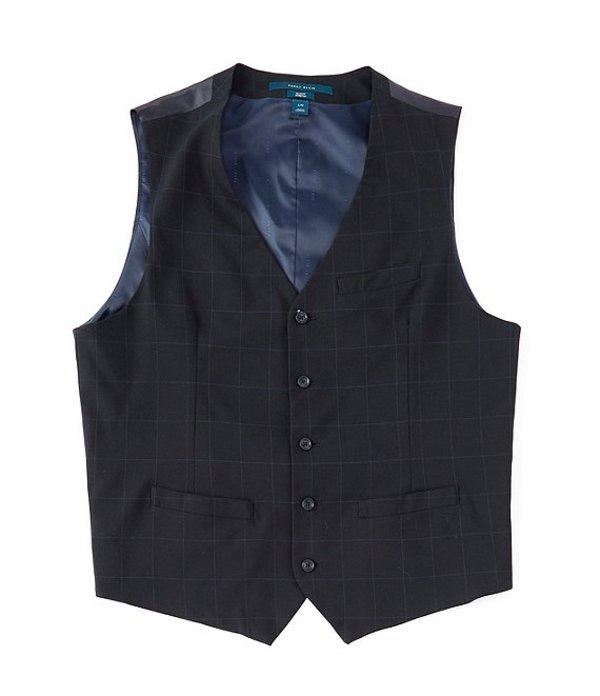 ペリーエリス メンズ ベスト アウター Slim-Fit Plaid Stretch Wrinkle-Resistant Machine Washable Suit Separates Vest Dark Sapphire