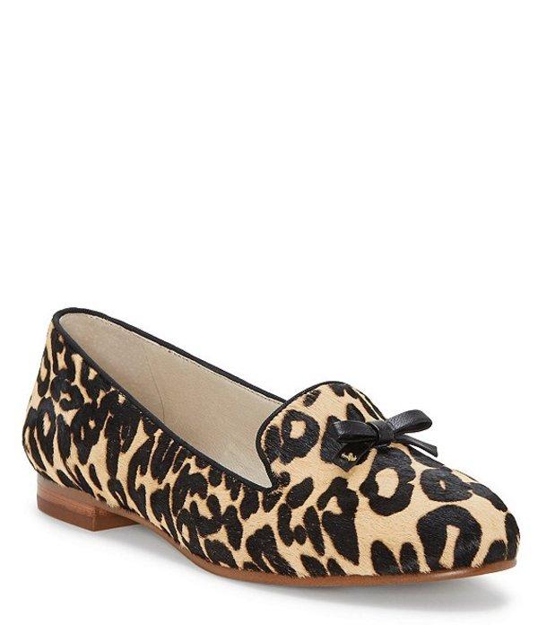 ルイスエシー レディース スリッポン・ローファー シューズ Anniston Leopard Dyed Calf Hair Bow Detail Flats Leopard