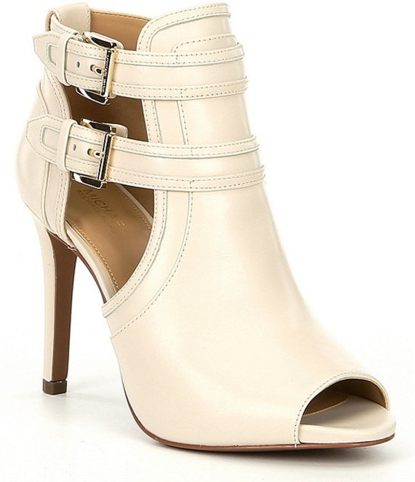 マイケルコース レディース ヒール シューズ Blaze Leather Peep Toe Buckle Detail Booties Light Cream