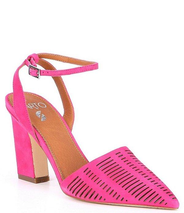 フランコサルト レディース ヒール シューズ Sarto by Franco Sarto Starla Suede Ankle Strap Block Heel Pumps Fuschia