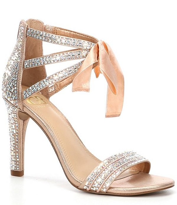 ジービー レディース サンダル シューズ Prom-Queen Rhinestone Bow Stiletto Dress Sandals Penny