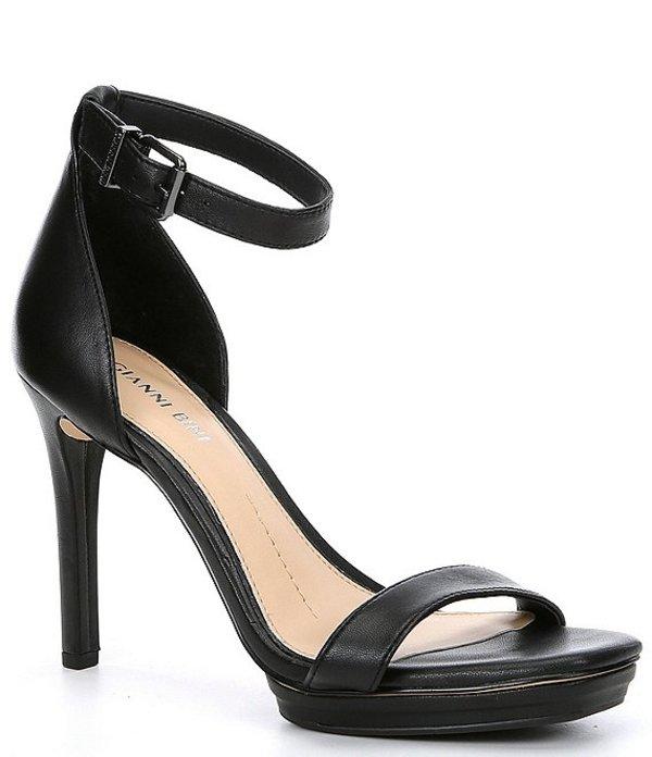 ジャンビニ レディース サンダル シューズ Tovine Leather Two-Piece Stiletto Platform Square Toe Sandals Black