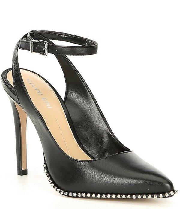 ジャンビニ レディース ヒール シューズ Renatay Leather And Stud Detail Ankle-Strap Pumps Black