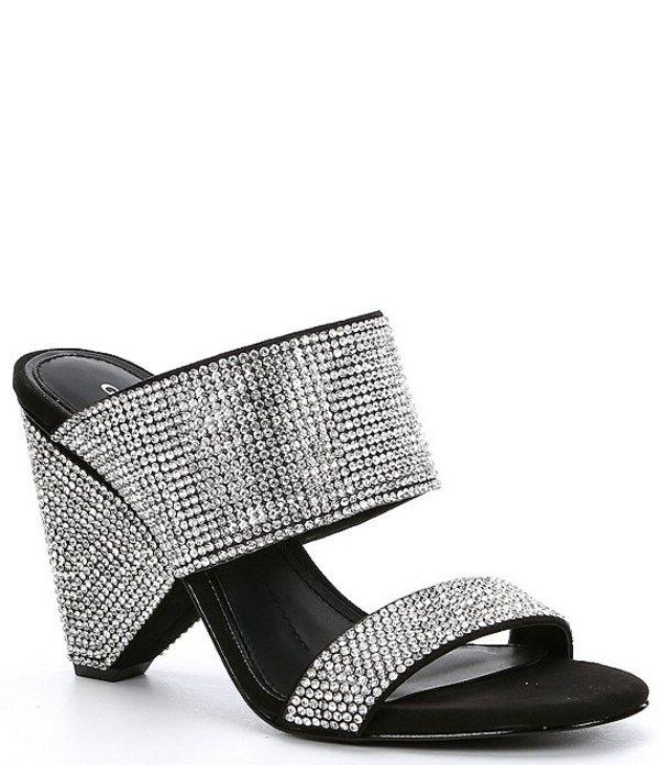ジャンビニ レディース ヒール シューズ Zabina Jeweled Rhinestone 2-Strap Mule Cone Heel Sandals Black