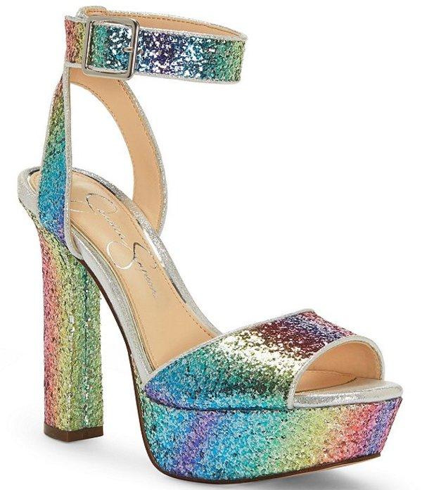 ジェシカシンプソン レディース サンダル シューズ Maicie2 Rainbow Glitter Platform Ankle Strap Sandals Rainbow/Multi