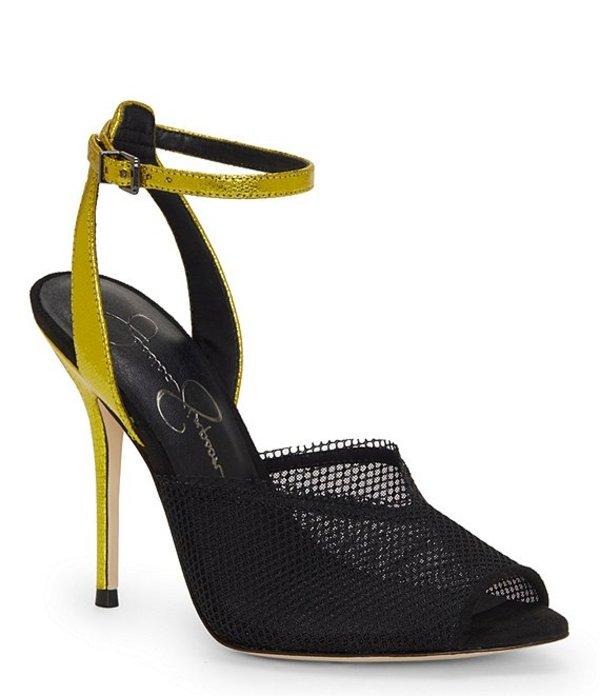 ジェシカシンプソン レディース サンダル シューズ Willren Colorblock Mesh Peep Toe Sandals Black/Yellow