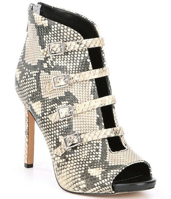 カール ラガーフェルド レディース ブーツ・レインブーツ シューズ Cardi Embossed Snake Print Leather Peep Toe Booties Black/White