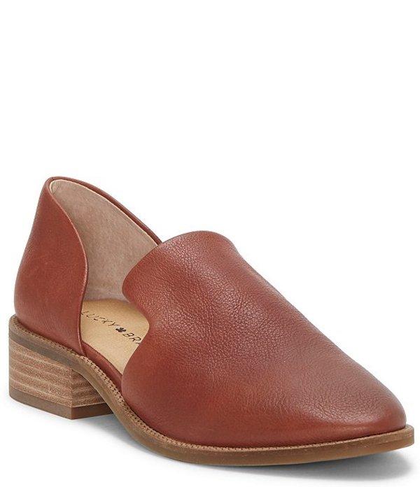 ラッキーブランド レディース スリッポン・ローファー シューズ Gennifa Leather Open Side Stacked Heel Loafers Ark Brown